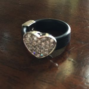 Leather Pave banded Heart Ring